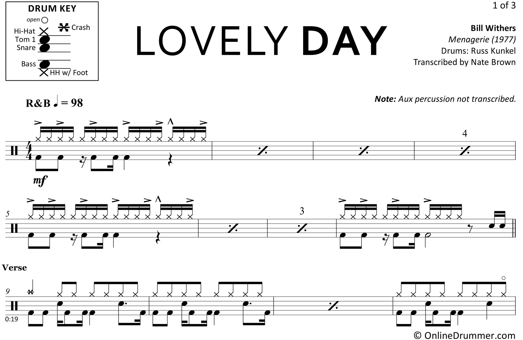 Lovely Day Bill Withers Drum Sheet Music Onlinedrummer Com Drum Sheet Music Sheet Music Drums Sheet