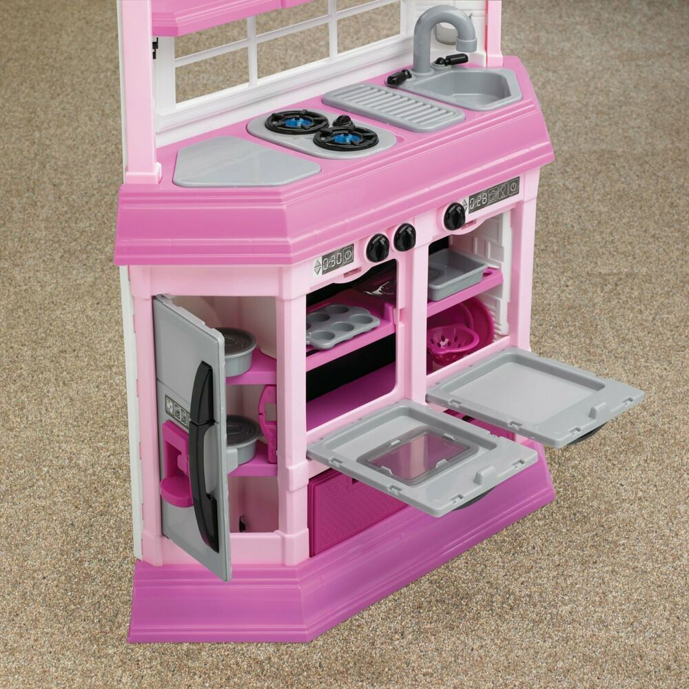 Girls Kitchen Play Set Pink Plastic Cooking Food Toy
