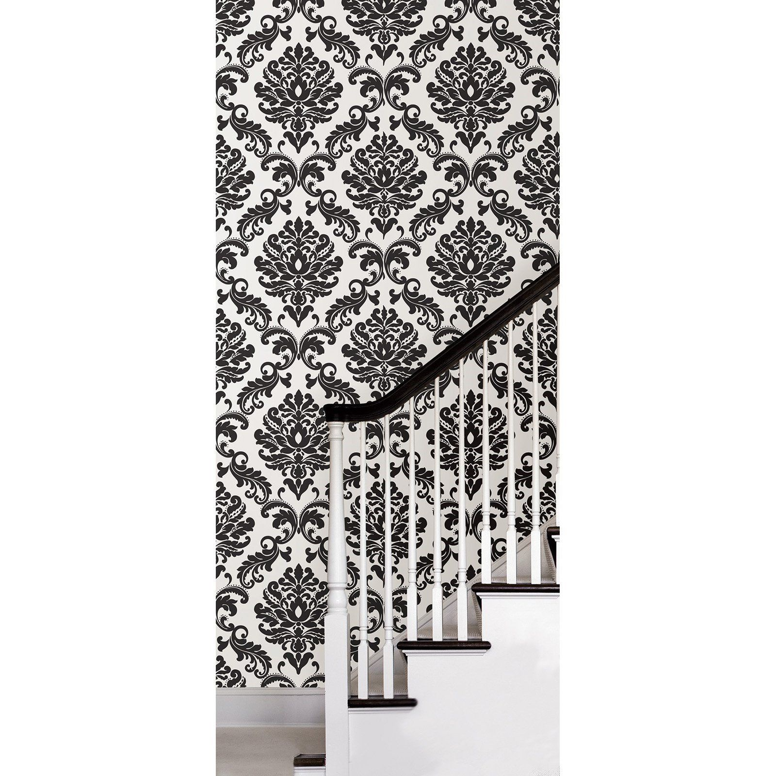 Nuwallpaper Ariel Black And White Damask Peel Stick Wallpaper Walmart Com Peel And Stick Wallpaper Bathroom Wallpaper Black And White White Damask