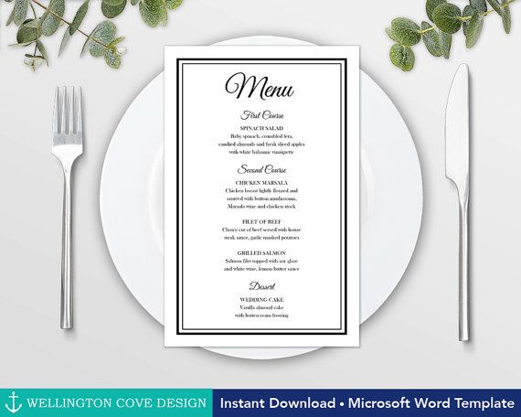Printable Wedding Menu Template for Microsoft Word u2022 Elegant Black - menu template for word