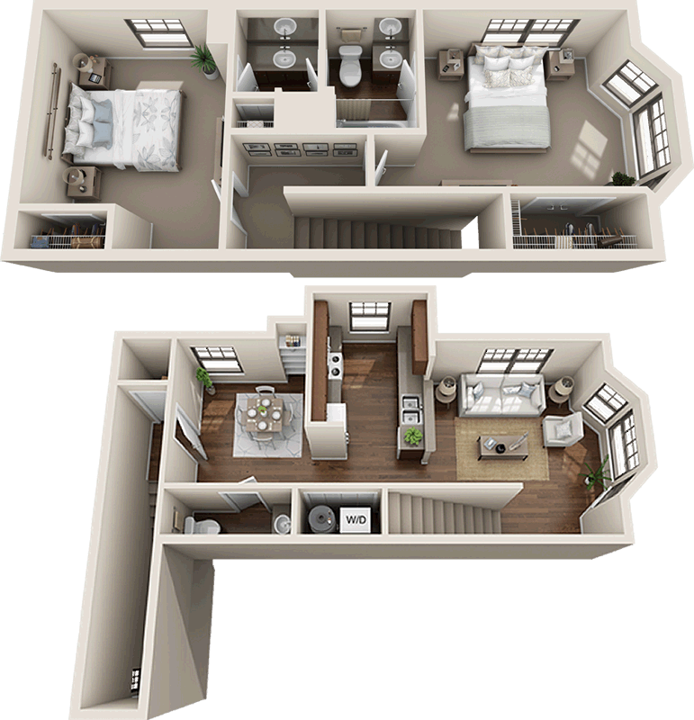 B2b Townhouse Two Bedroom One And 1 2 Bath Tri Level 1 057 Sq Ft Townhouse Interior Studio Apartment Layout Townhouse Apartments