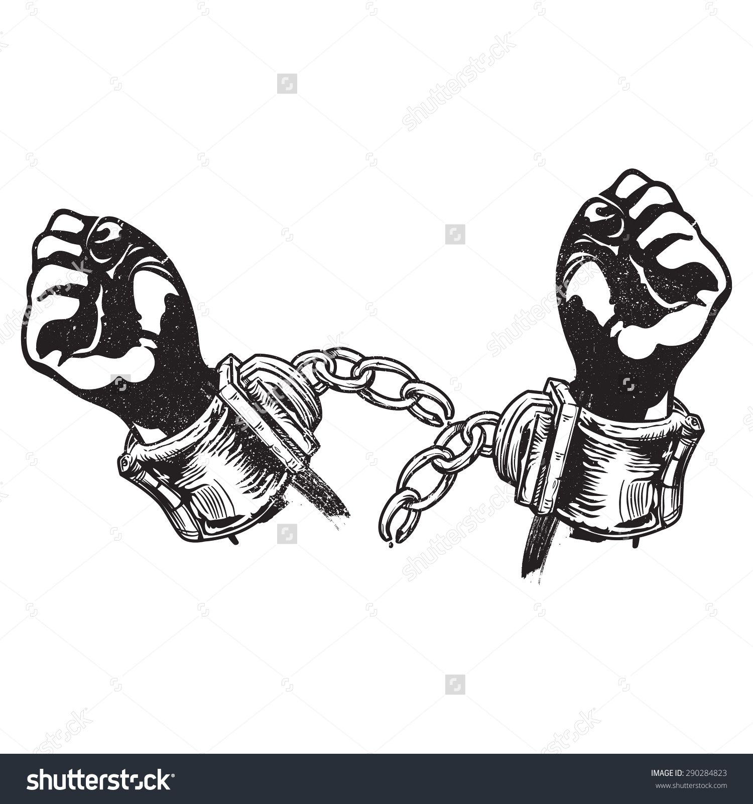 stock vector a vector illustration of broken handcuffs for