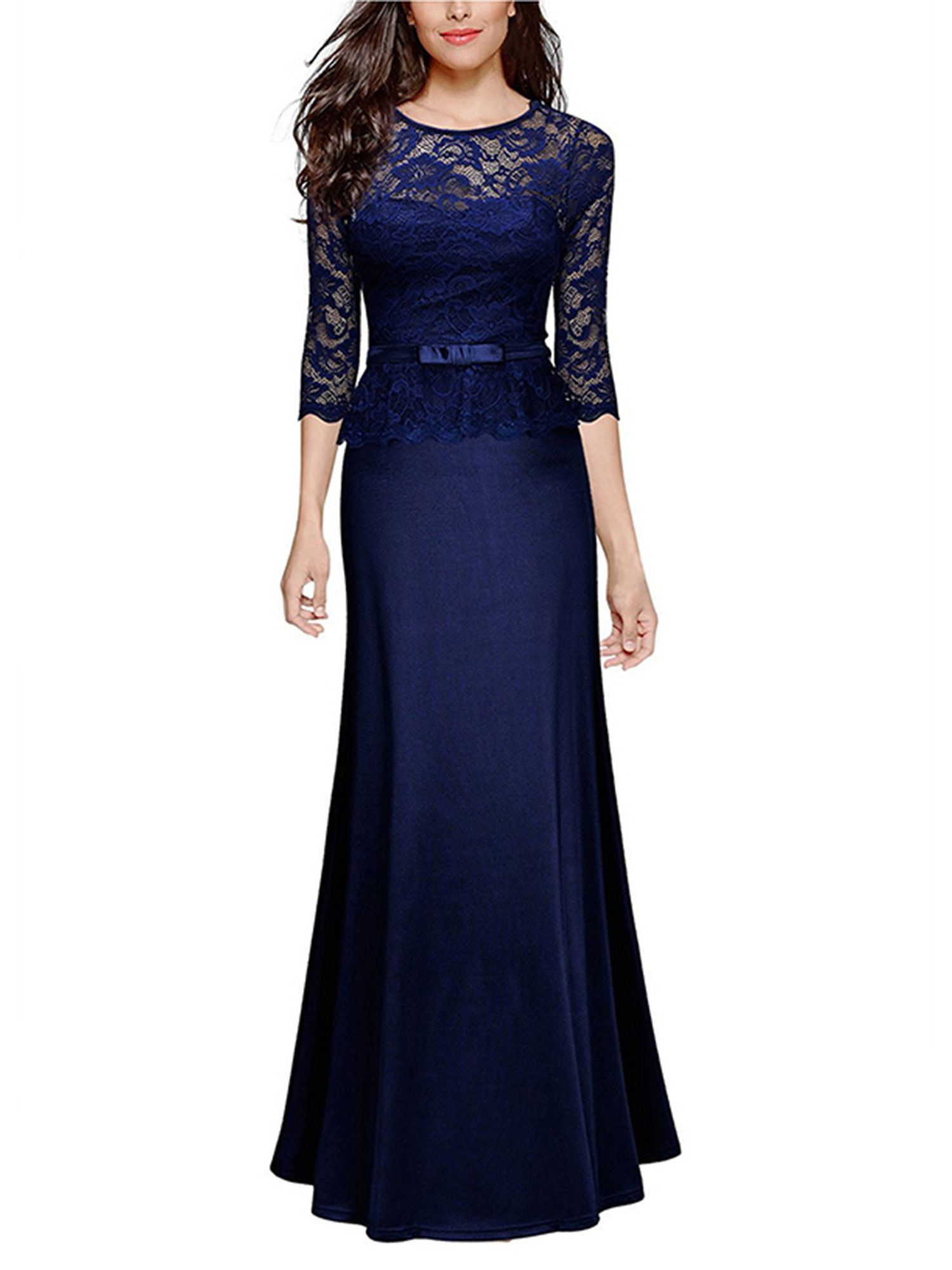 Women Vintage Lace Maxi Dress 3 4 Sleeve Slim Cocktail Formal Evening Ball Gowns Party Prom Bridesmaid Wedd Maxi Dress Wedding Party Dress Long Lace Maxi Dress [ 2000 x 1500 Pixel ]