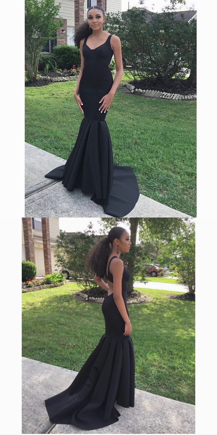 Elegant mermaid black long prom dress evening dress prom dresses