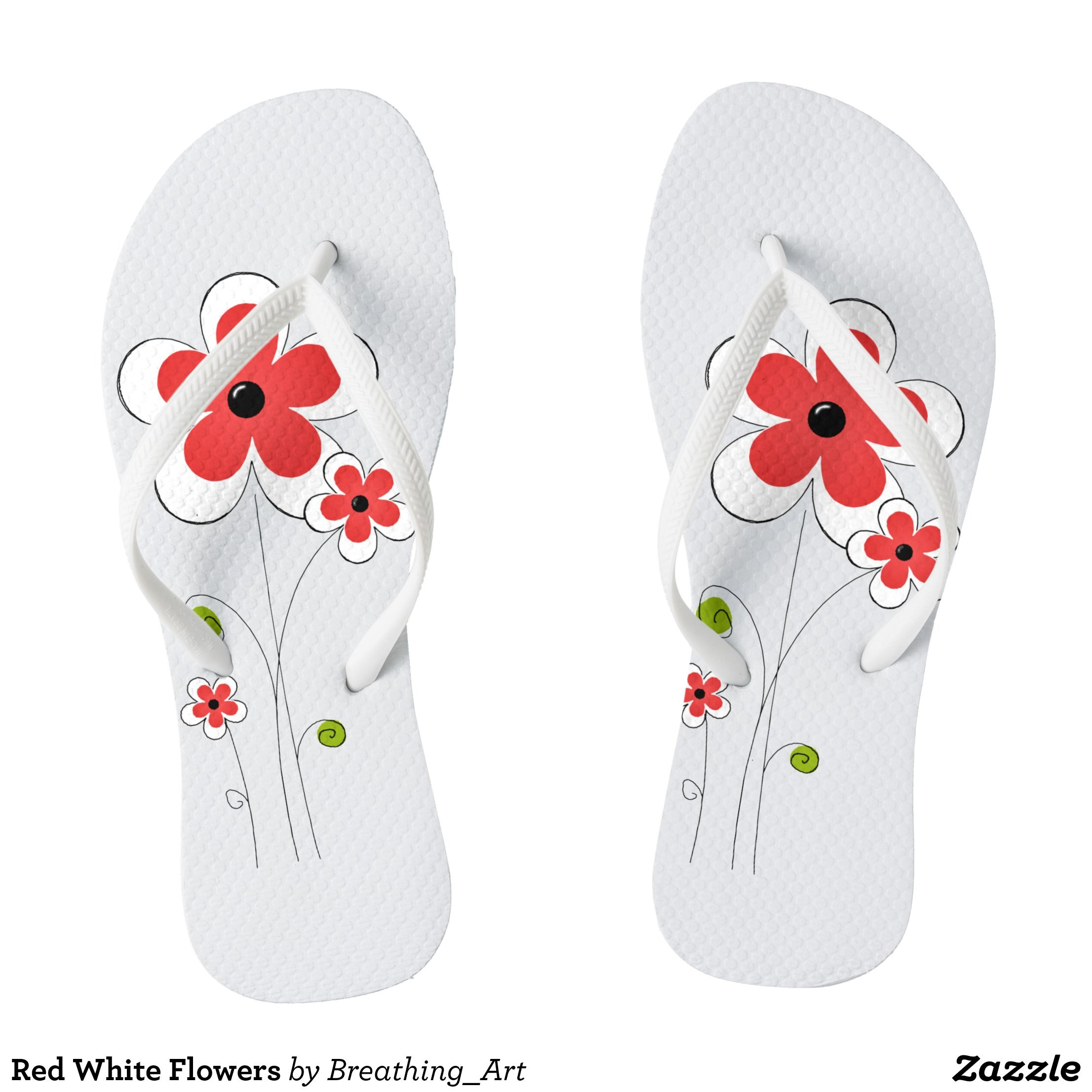 Red white flowers flip flops flip flops durable thong style red white flowers flip flops durable thong style hawaiian beach sandals by talented fashion mightylinksfo