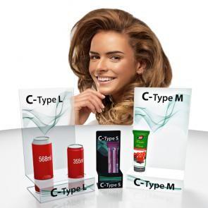 C-type  Espositori in plexi trasparente, bianco o nero con base a C, disponibili in varie misure. Possibilità di stampa a colori e fori personalizzati per posizionare i prodotti.