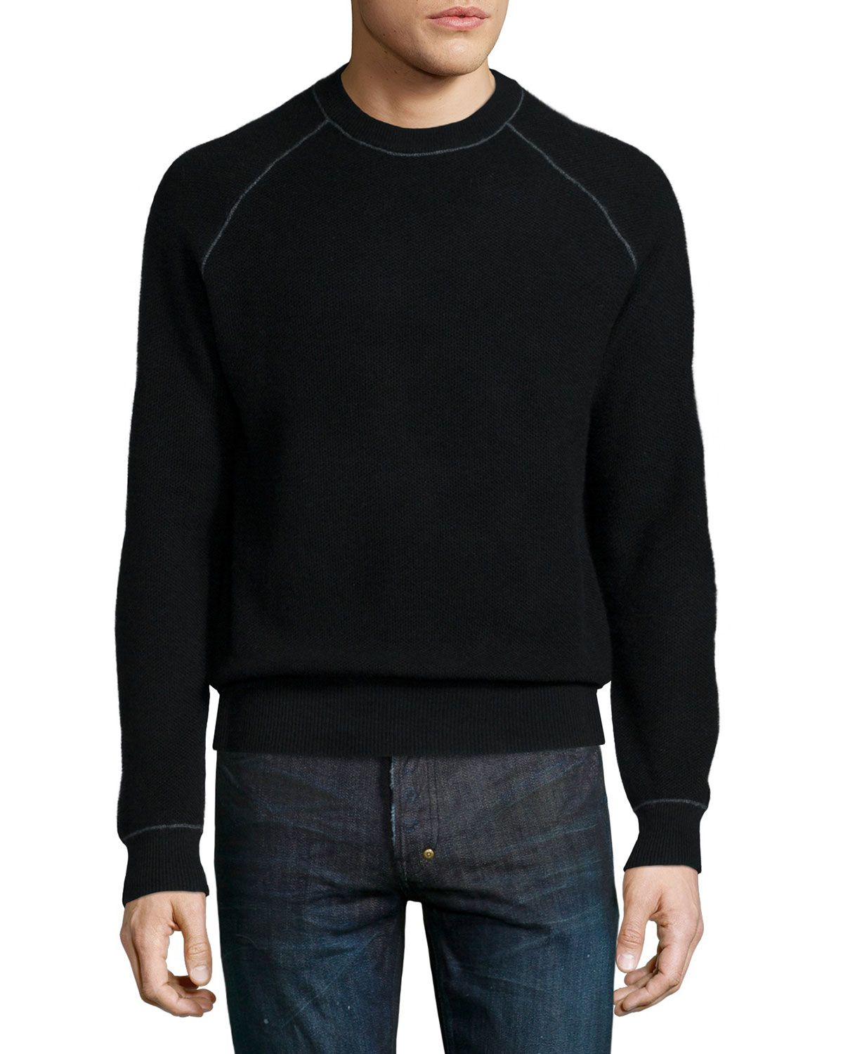 Neiman Marcus Cashmere by Billy Reid Raglan-Sleeve Sweater, Black ...