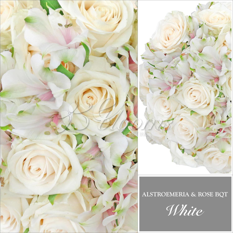 Rose and Alstroemeria White Monochromatic Bouquets | Pinterest ...