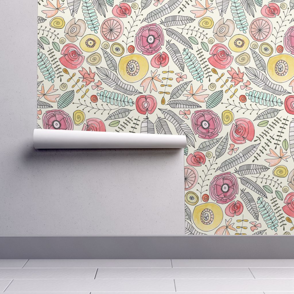 Feather Fleur Watercolor Spoonflower Peel And Stick Wallpaper Wallpaper Roll Floral Botanical