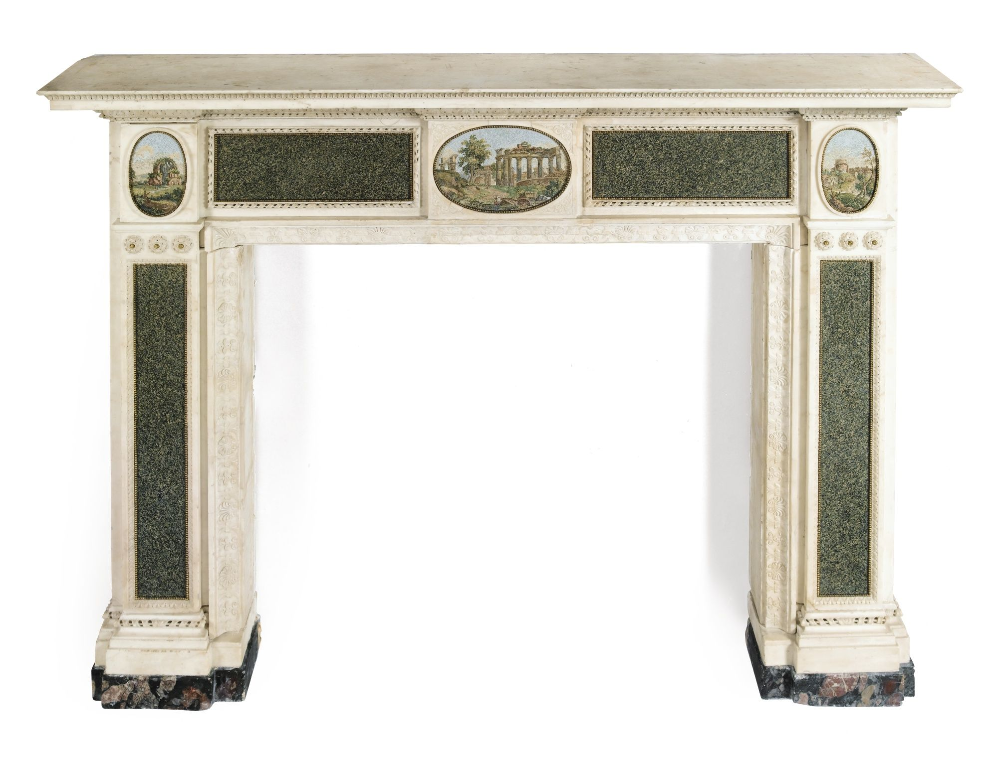 A carved neoclassical white marble, green granite and micro-mosaic ...