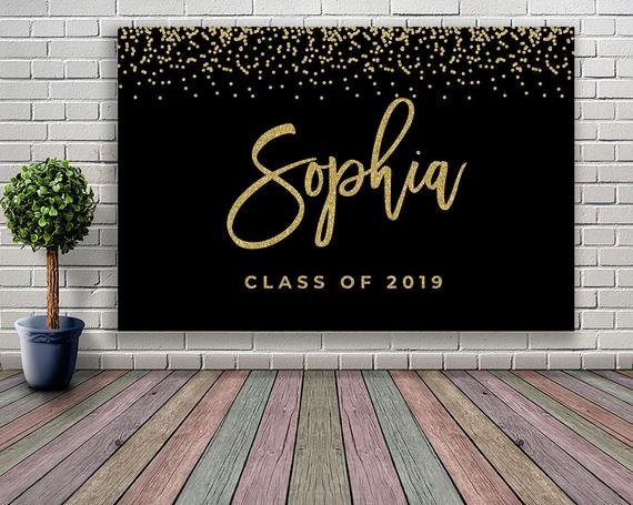 PRINTABLE Graduation backdrop banner Graduation decoration black and gold Graduation party decoratio #graduationparties