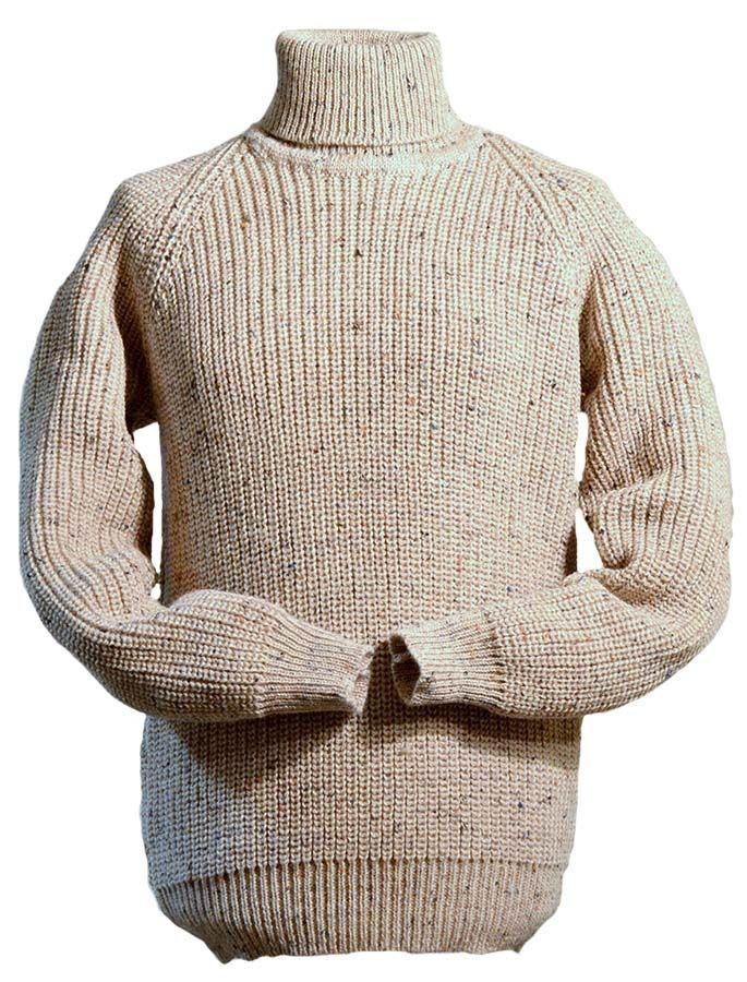 Fishermans Ribbed Mens Wool Turtleneck Sweater Irish Ubrania
