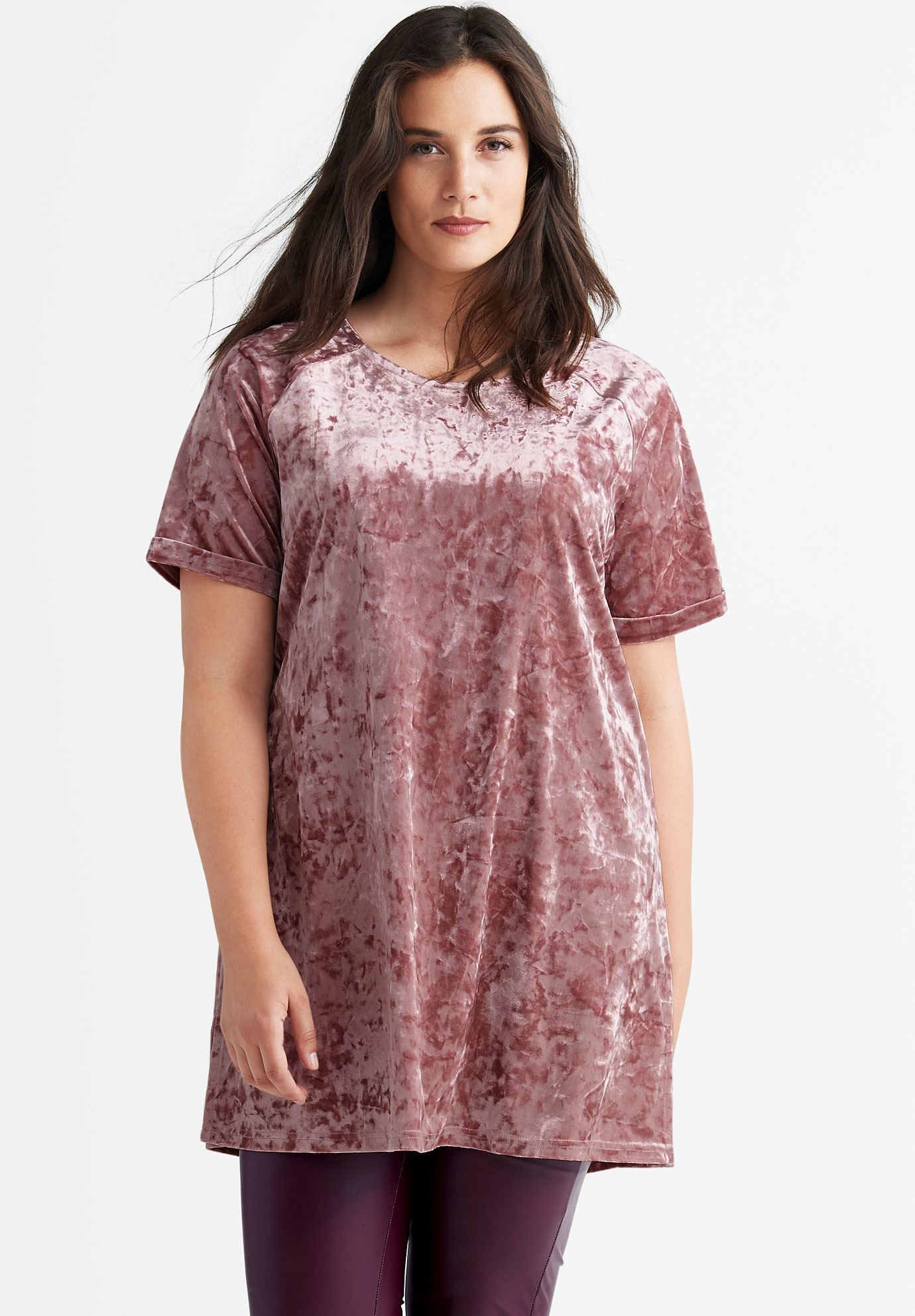 f06051343cd Velour Tunic by ellos - Women s Plus Size Clothing