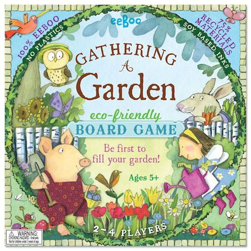 Gathering a Garden board came from Eeboo. Made primarily of recycled materials, this game encourages played to cherish and enjoy the natural world.