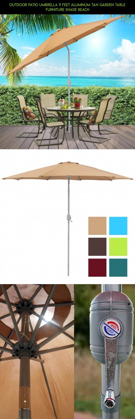Outdoor Patio Umbrella 9 Feet Aluminum Tan Garden Table Furniture Shade Beach #tech #patio & Outdoor Patio Umbrella 9 Feet Aluminum Tan Garden Table Furniture ...