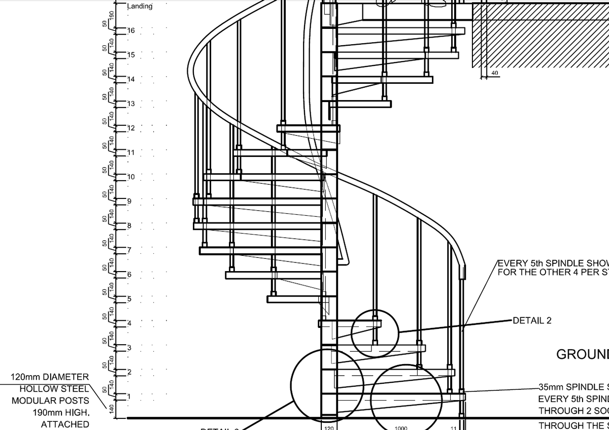 AutoCAD 2012 spiral staircase detail drawings, plan, section