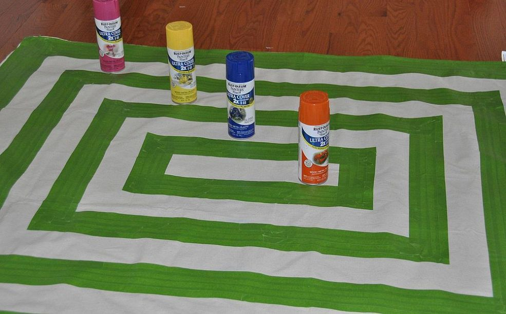 Drop cloth spray paint rug painted rug canvas drop