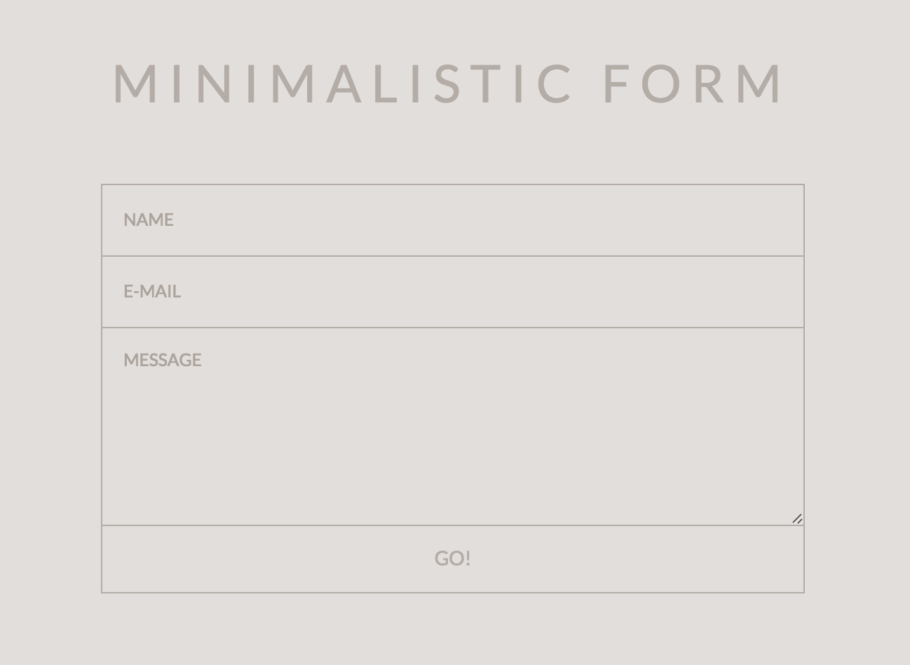 Minimalistic Form  Design Formulaire    Contact Form