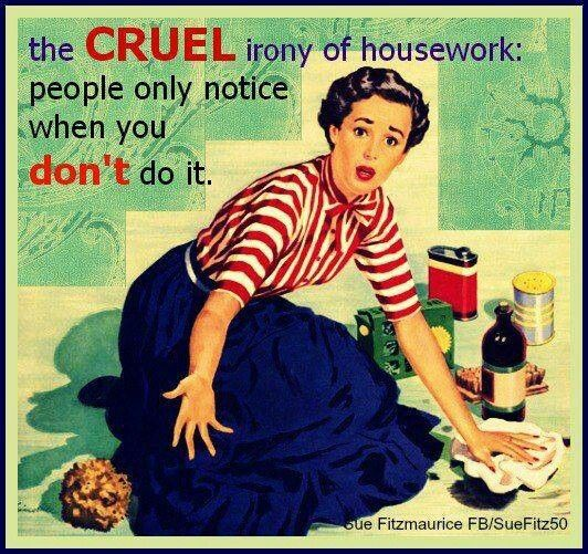 The cruel irony of housework: people only notice it when you DON'T do it.