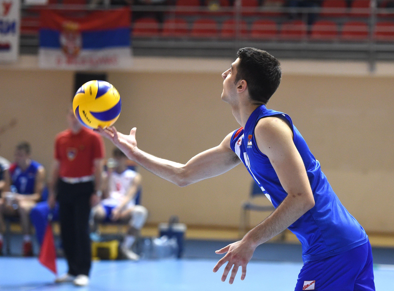 David Mehic Team Captain Of Junior Men Of Serbia Preparing To Serve Ball Exercises