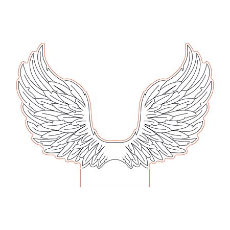 Angel Wings 3d Illision Lamp Plan Vector File Op For Laser And Cnc 3bee Studio Silhouette Wall Art 3d Illusion Art Silhouette Curio Projects