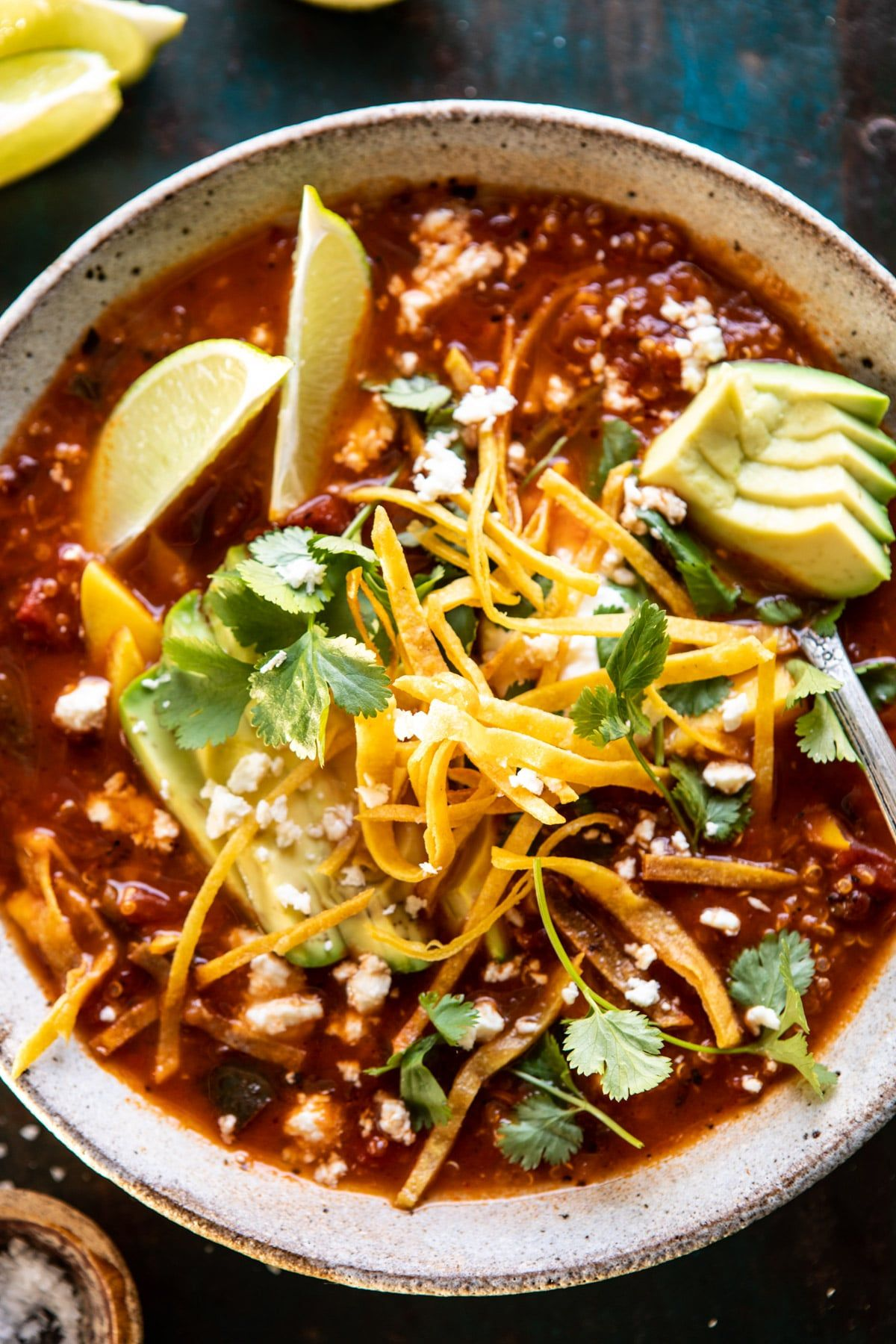 Crockpot Spicy Vegetarian Tortilla Soup with Quinoa