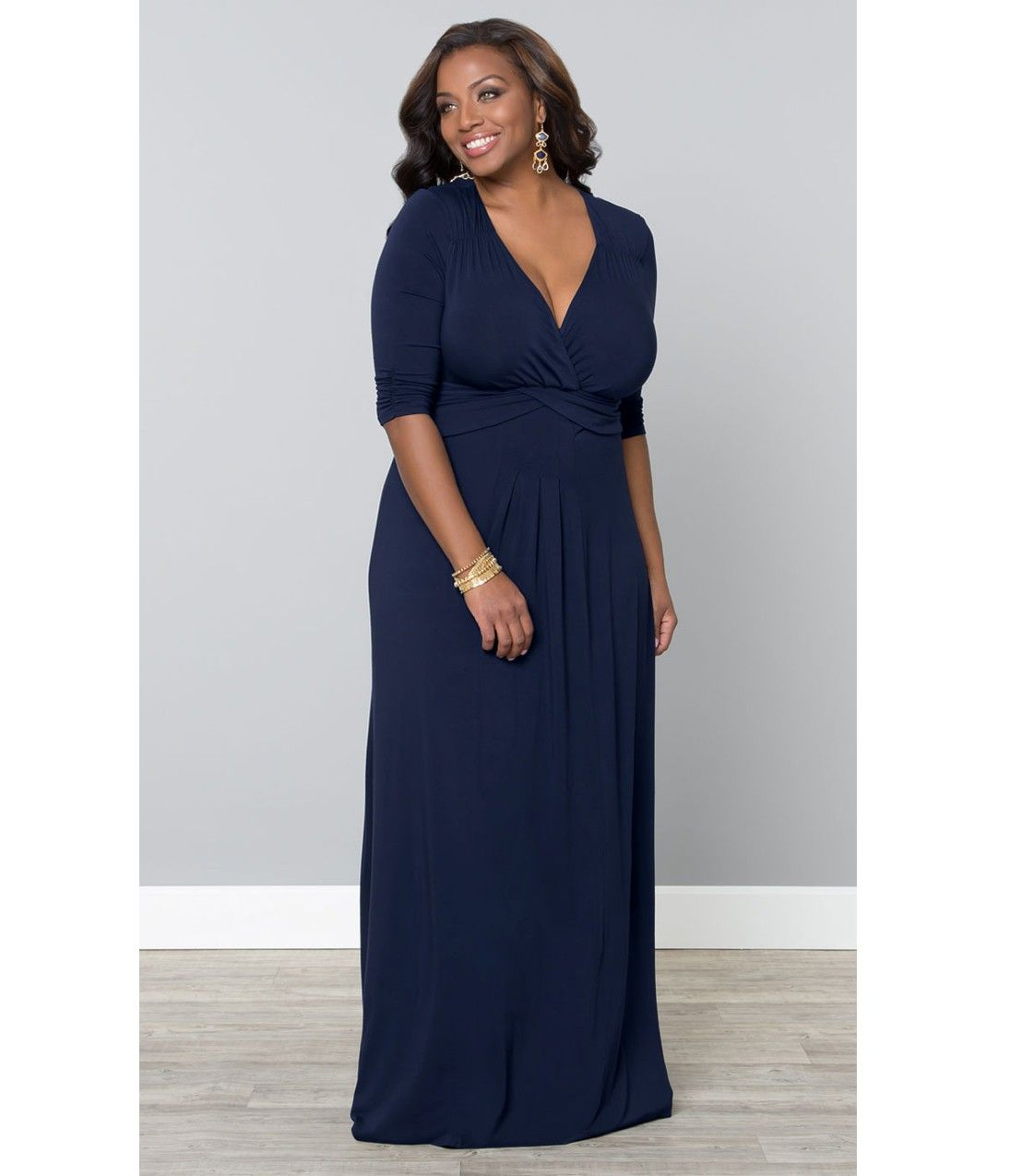 Outdoor Wedding Mother Of The Bride Dresses: Plus Size Navy Blue Desert Rain Maxi Dress