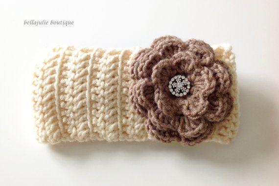 Crochet Headband Ear Warmer Flower Headband by BellaJulieBoutique