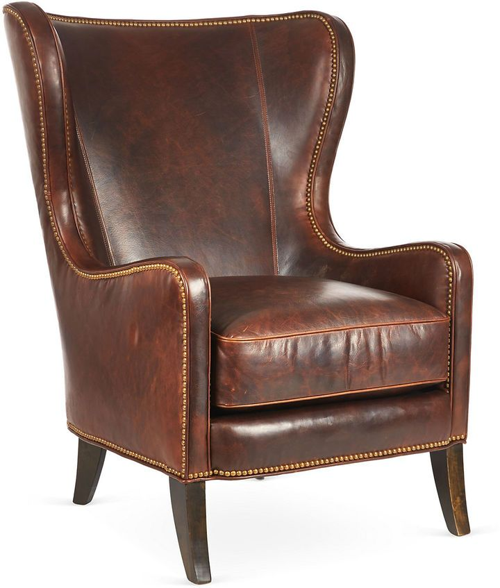 Massoud Furniture Dempsey Wingback Chair Bourbon Leather