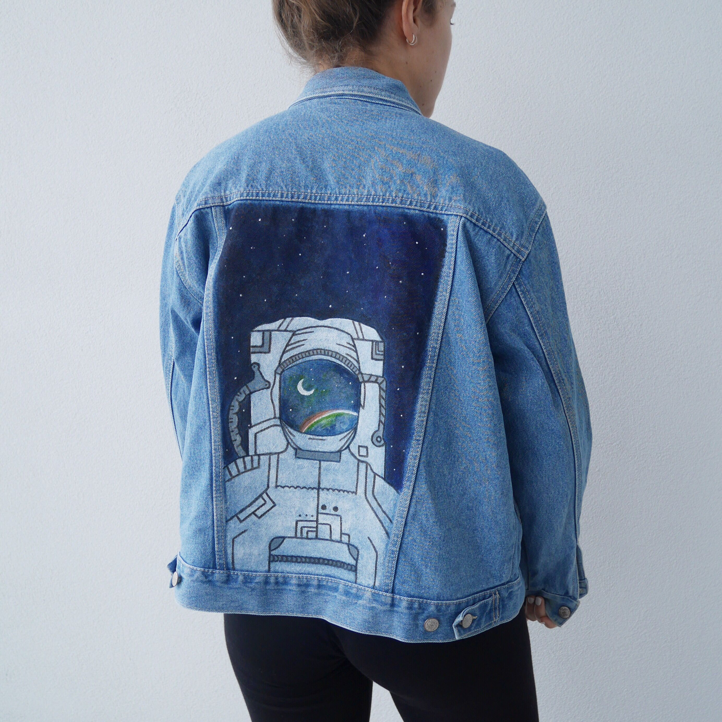 Hand painted Oversized Vintage Denim Jacket! On Etsy! Astronaut in space  watching the sunrise.  Maybe I belong among stars  796d321942