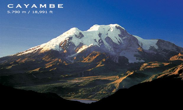 Cayambe is a massive glaciated extinct volcano. It is located about 68 km North East of Quito and is the highest point on the surface of the earth through ...