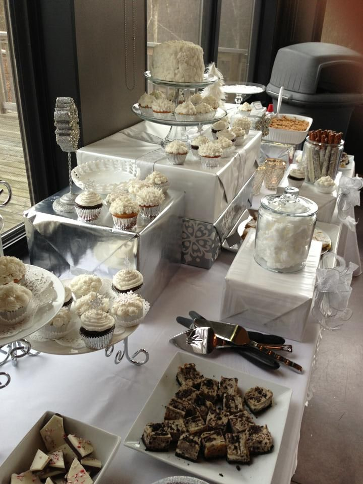 my dauughters winter themed bridal shower dessert table