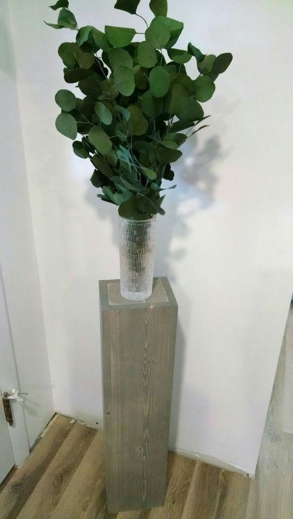 Single Rustic Large Pedestal Wood Floor Vase Flat Top Rustic