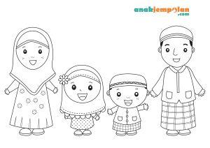 Muslim Family Coloring Page Kartun Warna