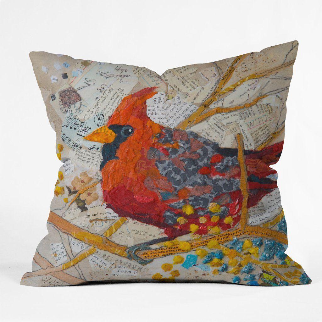 Elizabeth St Hilaire Nelson Cardinal On White Throw Pillow   White ...