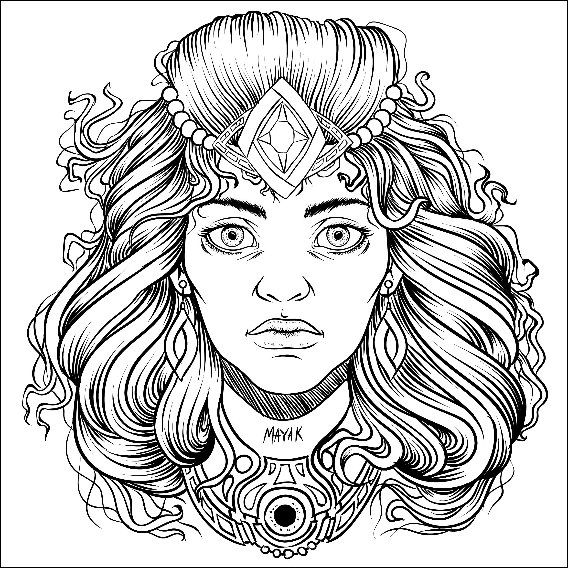 Sketch Tattoo Girl Woman Hair Beautiful Art Line Vector Draw Drawing Illustrator Illustration Skull Coloring Pages Coloring Pages Colouring Pages
