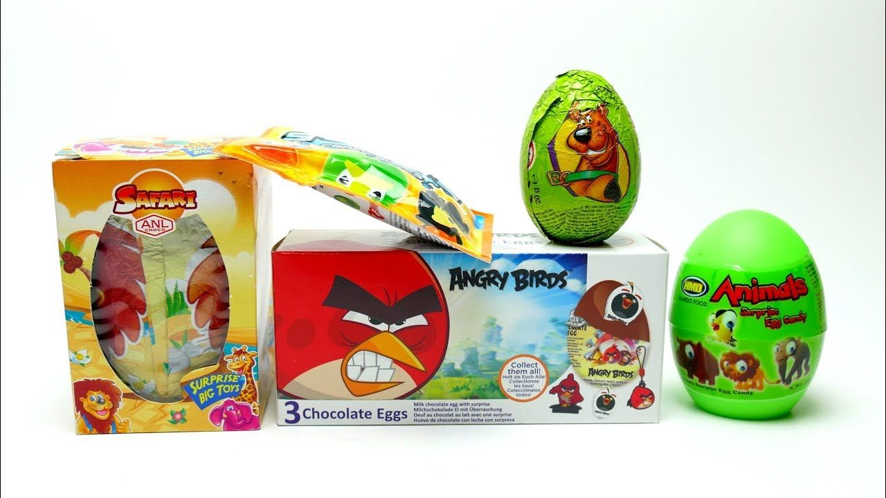 NEW Surprise Egg Collection Angry Birds Big Safari And Scooby