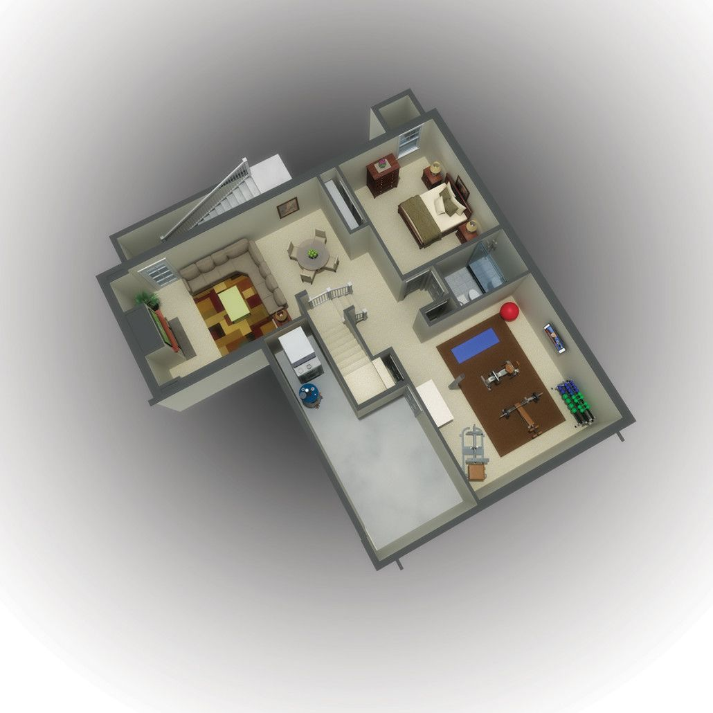 Photorealistic 3D rendering of a floor plan for single