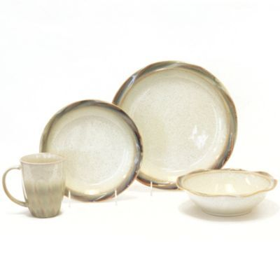 Baum Ripple 16-Piece Dinnerware Set in Cream - BedBathandBeyond.com ...
