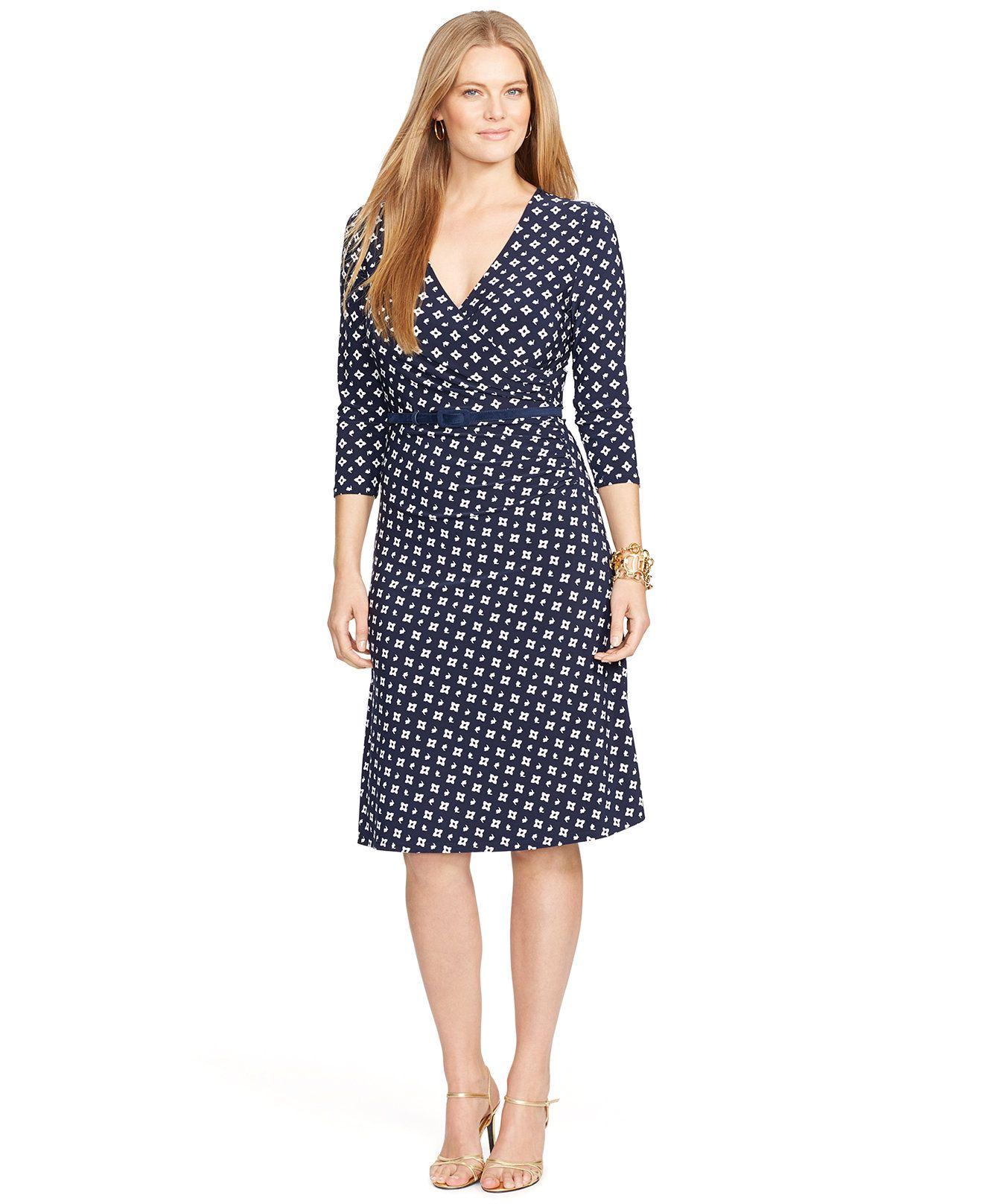 e2c78054ac Lauren Ralph Lauren Plus Size Floral-Print Faux-Wrap Dress - Dresses - Plus  Sizes - Macy s