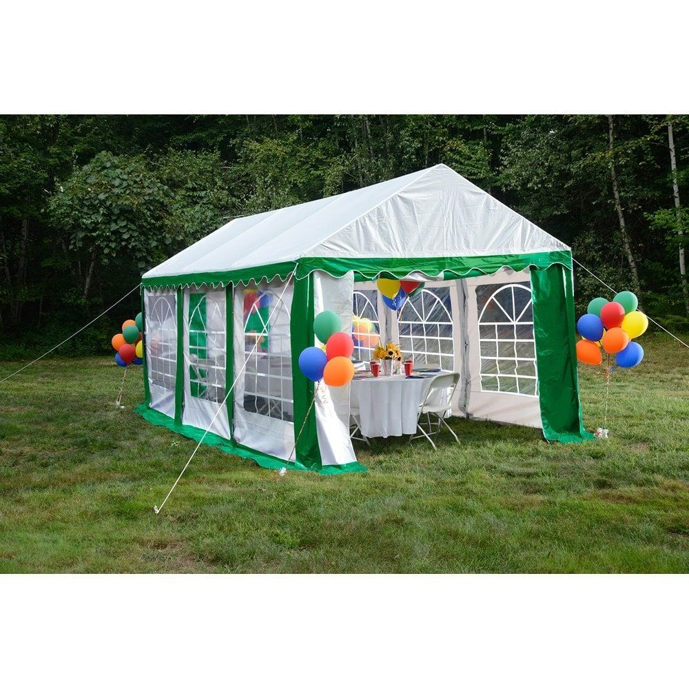 ShelterLogic 10' x 20' Green/ White 8leg Galvanized Steel
