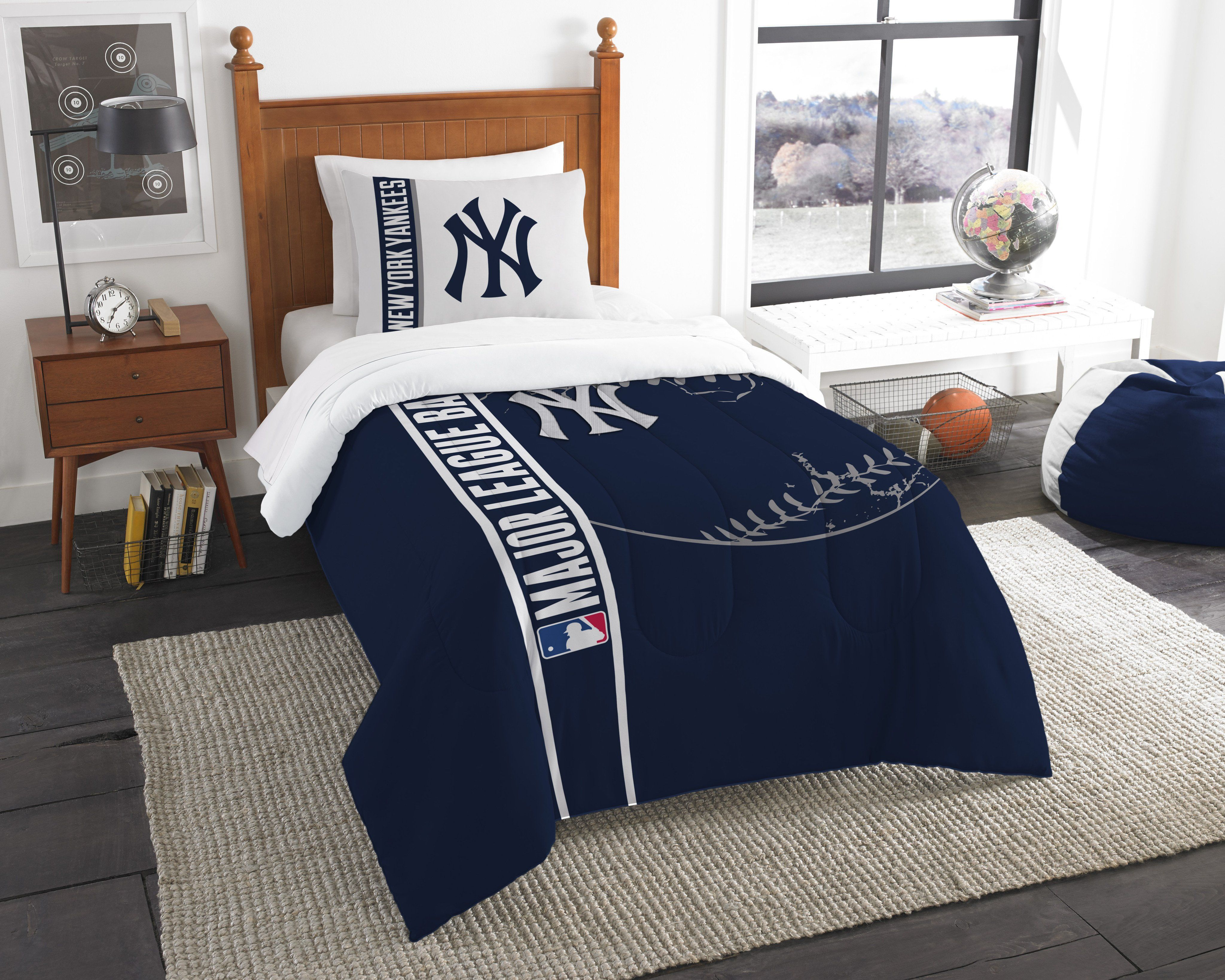 Yankees Twin Embroidered Comforter & 1 Sham Set | Twin ...