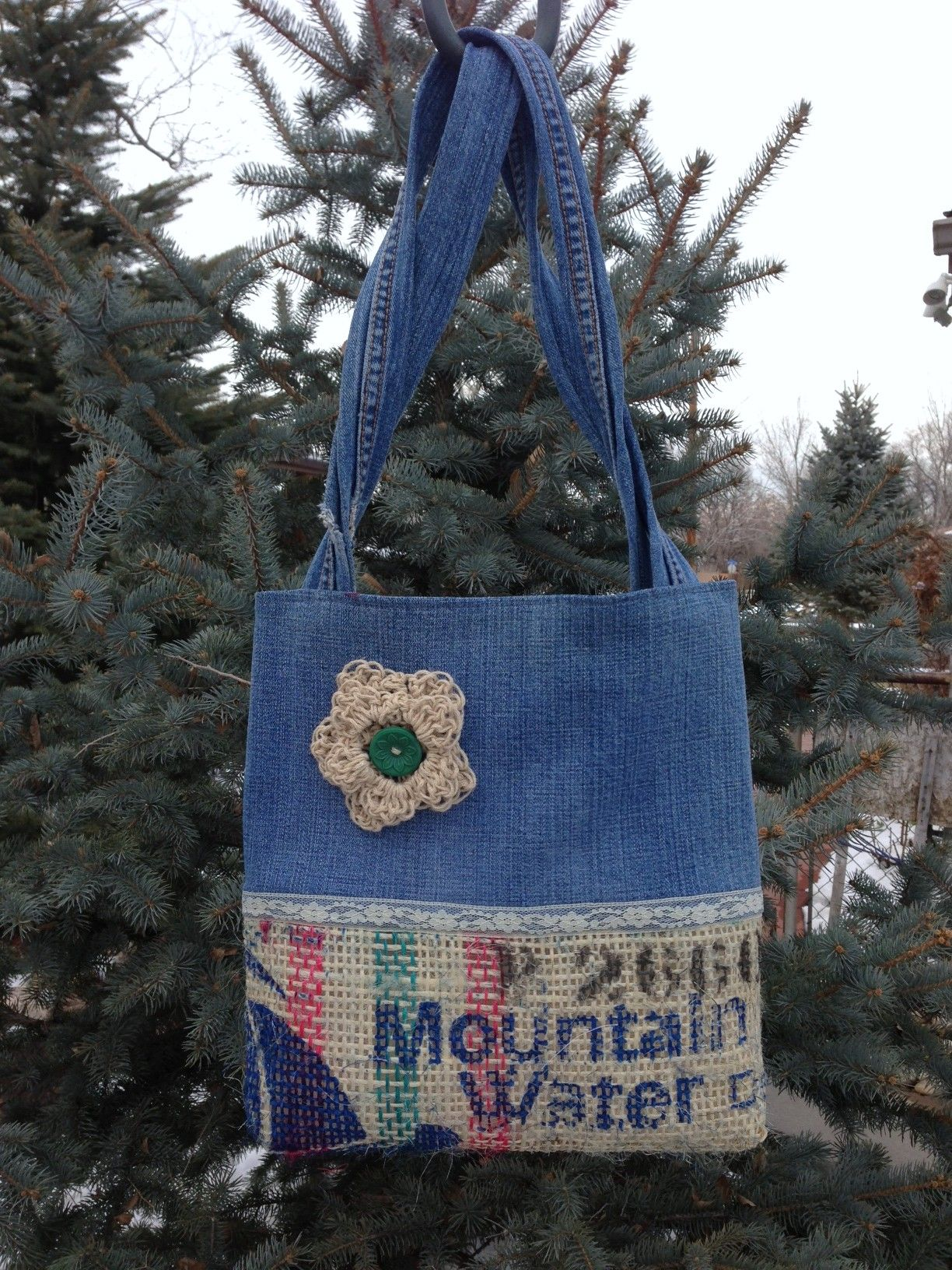 Burlap and jean tote; fully lined with pocket.