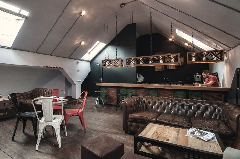 traditional office design. Fabulous Coffee Shop Interior As Inspiration For Office Design: Traditional Attic Details And Bar Incorporating Design