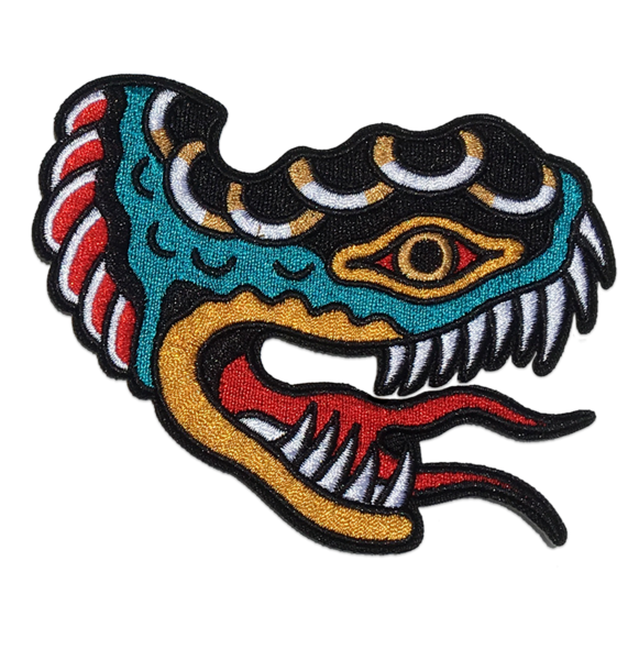 Few and Far Collective Embroidered 'Shon Snake' Patch. High quality embroidered patch, ready to be ironed onto whatever the hell you like! #fewandfarcollective