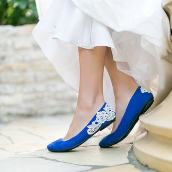51820f395bc Wedding Shoes - Bridal Ballet Flats, Cobalt Blue Wedding Flats with ...