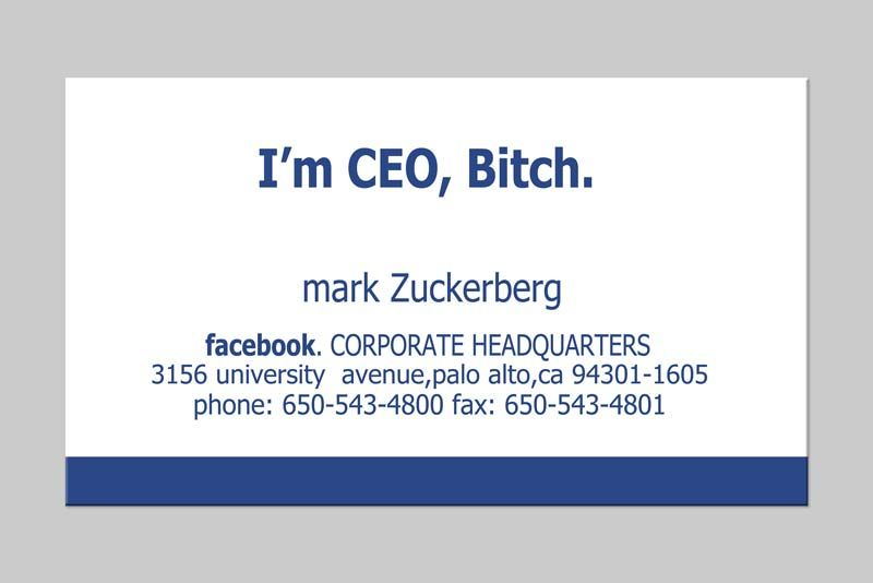 Mark Zuckerberg Famous Business Cards