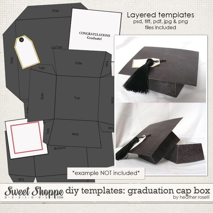 Create Your Own Customized Graduation Cap Box With These Fully Layered Templates Using Your Choice Of Digital Graduation Diy Graduation Cap Diy Graduation Cap