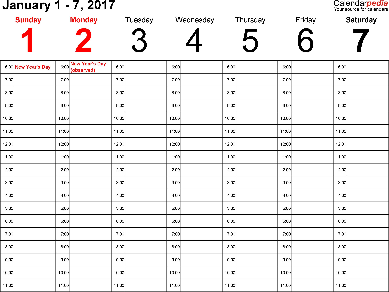 Weekly calendar 2017: template for PDF version 1, landscape, 53 ...