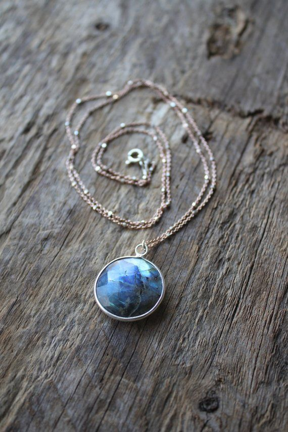 Labradorite Stone Coin Satellite Chain Necklace